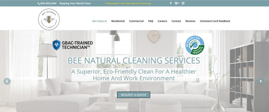 Bee Natural Residential and Commercial Cleaning | A Website by Gale Force Marketing, Inc.