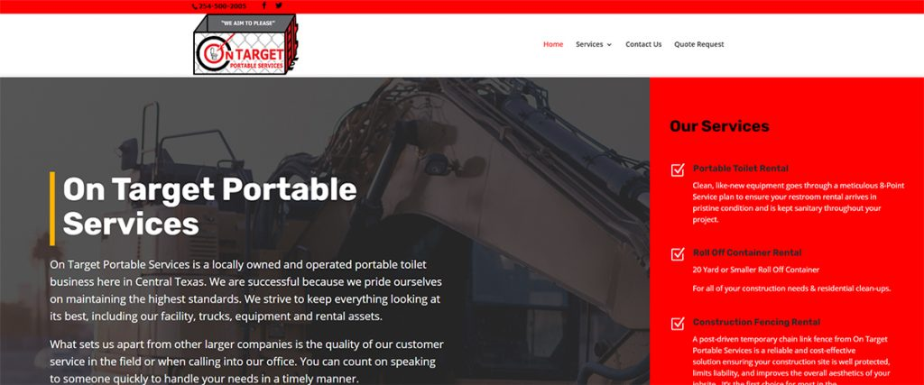 On Target Portable Services | A Website by Gale Force Marketing, Inc.